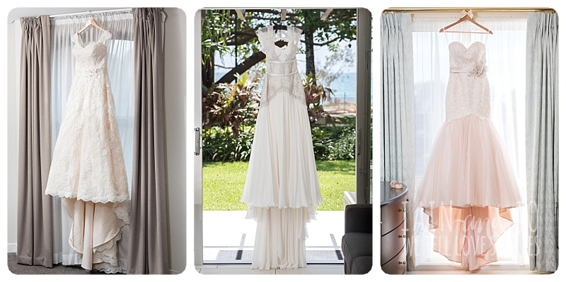 Hanging White Wedding Gowns