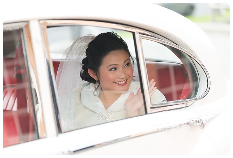 Bride Inside The Bridal Car