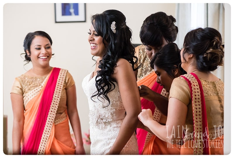 Bride with Her Bridesmaids Before The Wedding