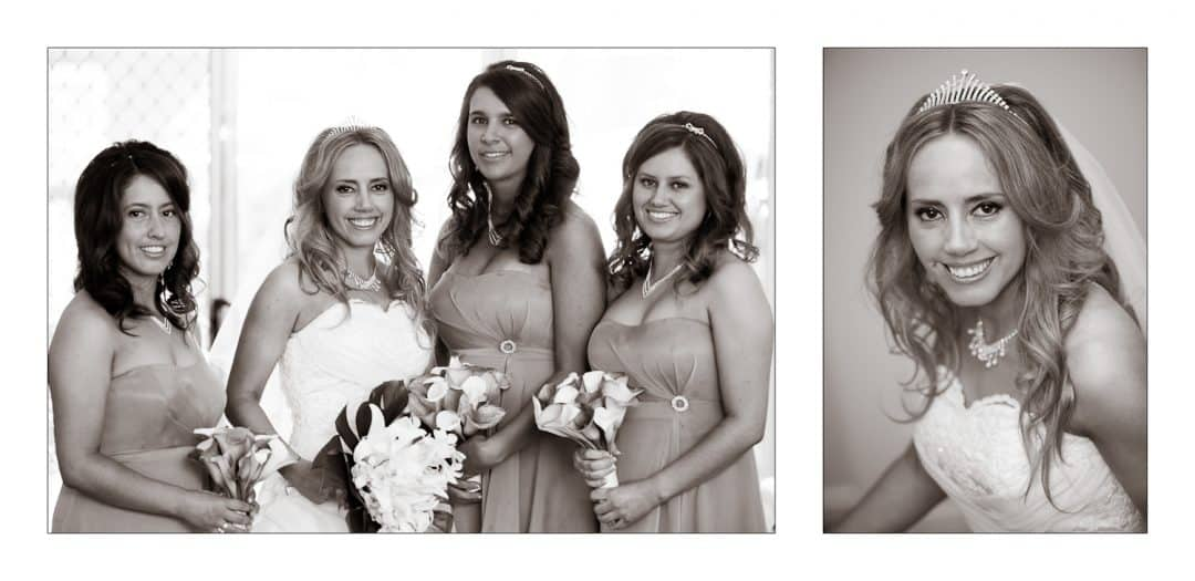 Black and White Photos of the Bride and the Bridesmaids