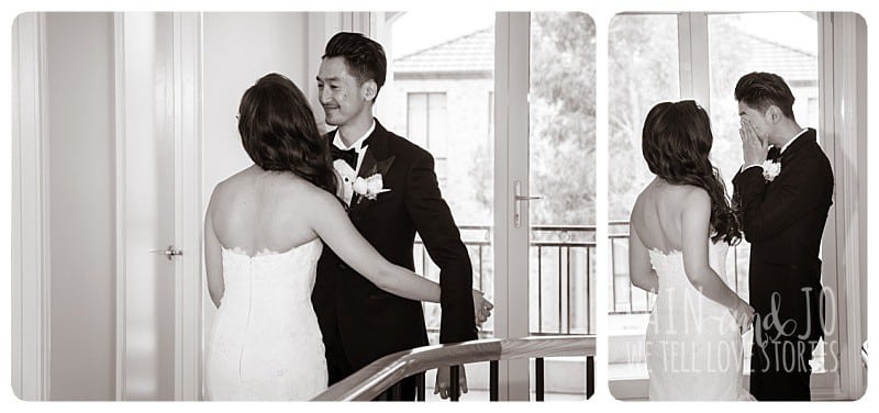 One of the most beautiful moments of the day. When Duc took his first look at his bride Julie in her white dress, things got a little emotional