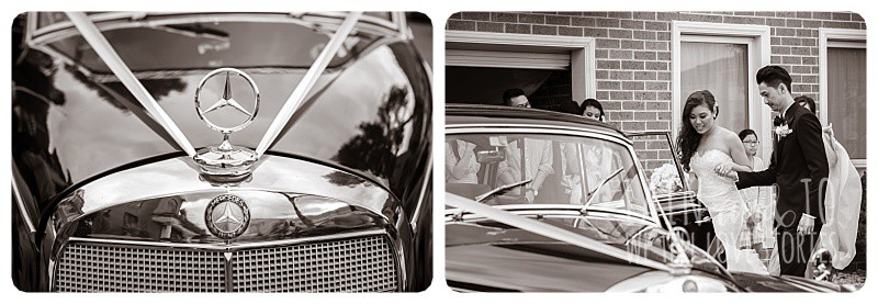 Bride and groom getting into a vintage Mercedes chauffeured by TripleR Cars, heading off for their wedding