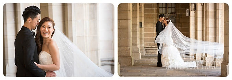 Portraits of the bride and groom at Melbourne University's old Philosophy Building