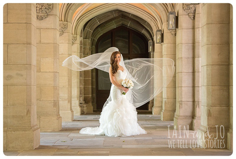 Full-length picture of a bride taken at the Philosophy building at Melbourne University
