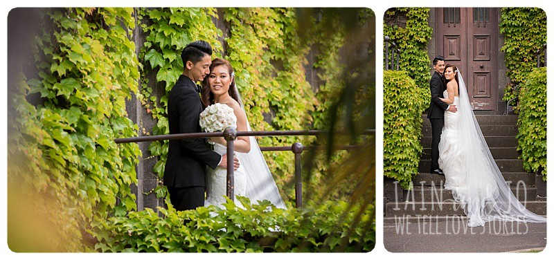 Portraits of the bride and groom in the vines at Victoria Barracks