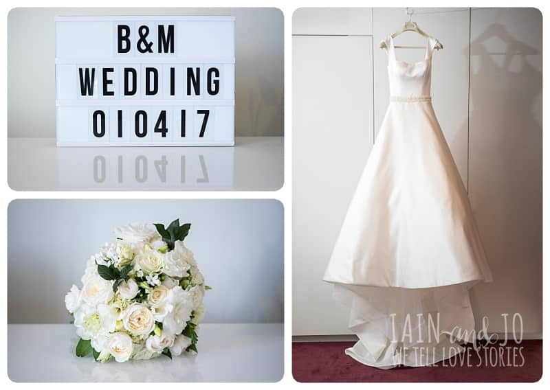 Collage of Bouquet, Wedding Text and Bridal Gown
