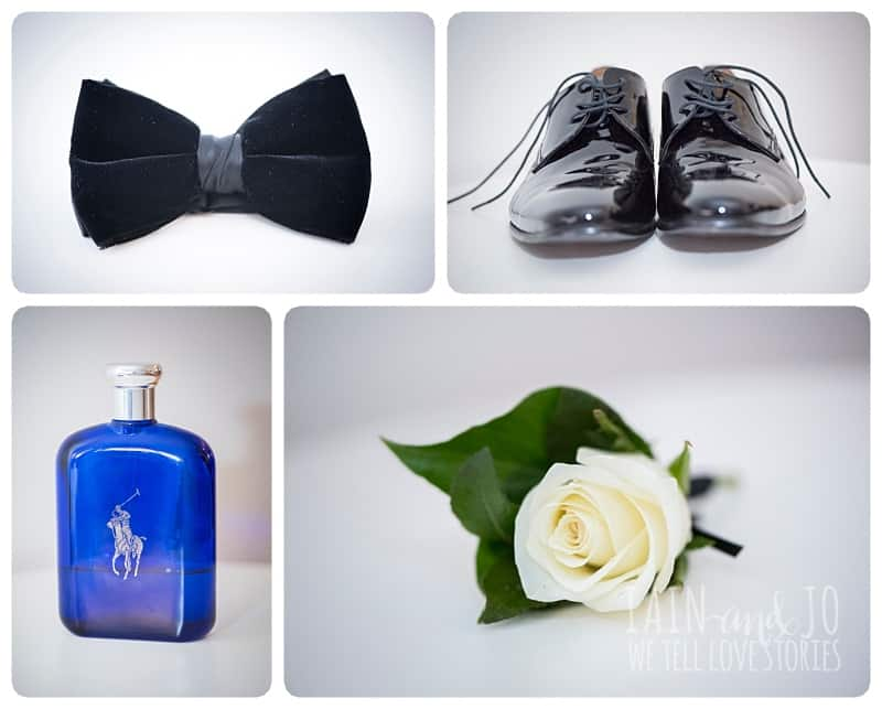 Groom's Bow, Perfume, Shoes, and Boutonniere