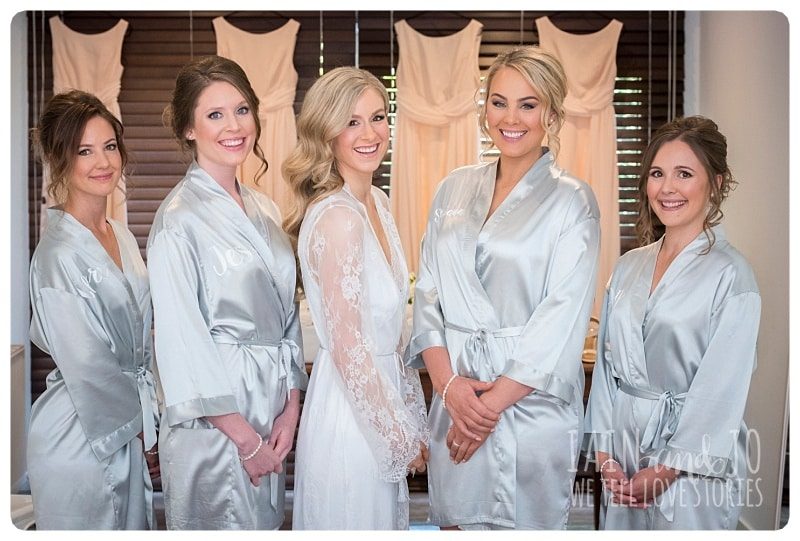 Beautiful Bridesmaids In Their Robes with the Bride