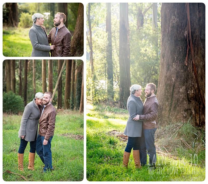 Engaged Couple Near A Big Tree