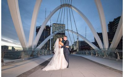 Kylie and Nathan's Aerial South Wharf Wedding