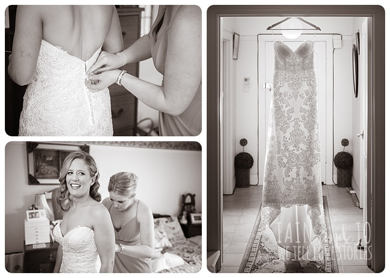 Black and white photos of bride preparing before wedding