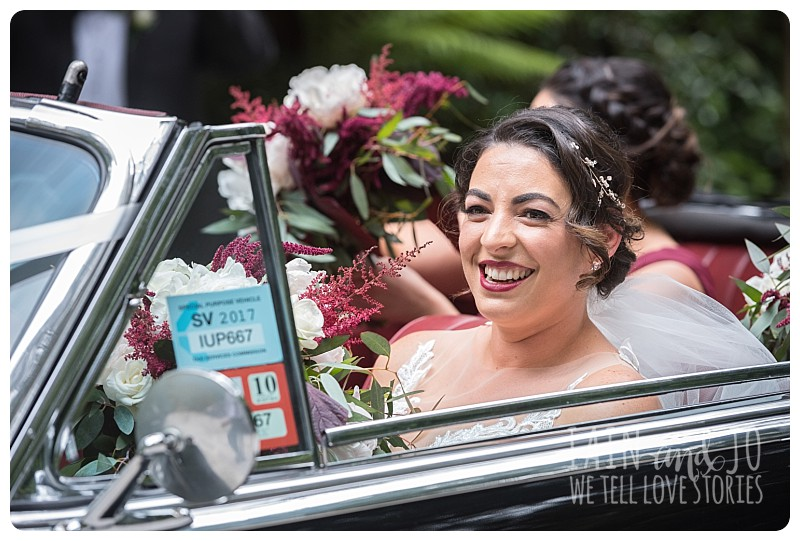 Bride at the bridal car