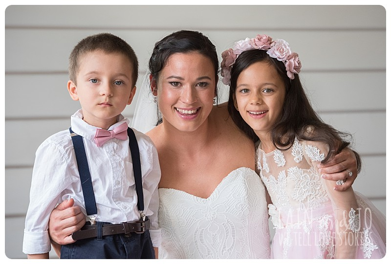 Page boy and flower girl with bride