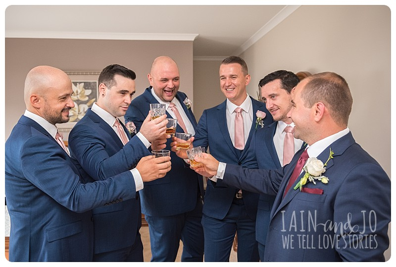 Groomsmen celebrating