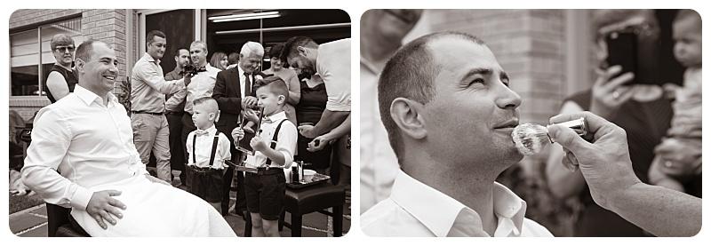 Traditional shaving the groom