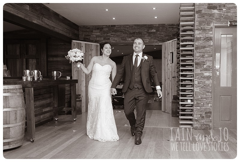 Bridal couple enter reception