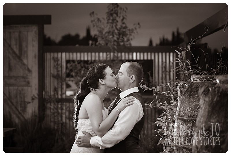 Bride and groom at twilight