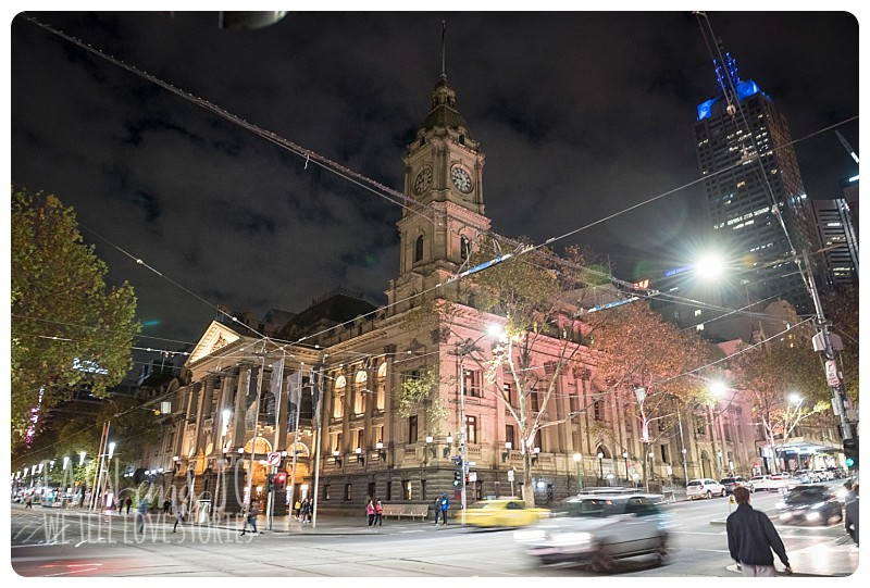Melbourne Town Hall at night